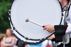Drummer Playing Bass Drum in Parade Royalty Free Stock Photos