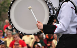 Drummer Playing Bass Drum in Parade. Copy Space Stock Image