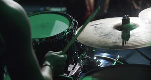 Drummer playing at the concert stock video