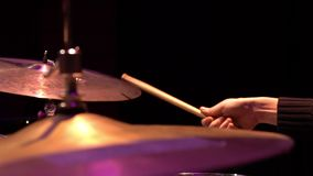 Drummer playing on the concert. Slow motion view stock video footage