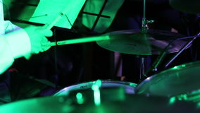Drummer Playing in disco lights stock video