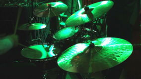 Drummer playing on drum set stock video footage