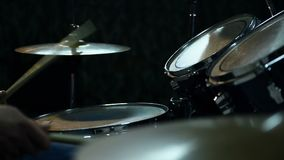 Drummer Playing On Drums. On Rock Concert. Slow Motion Effect. Close Up stock video