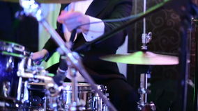 Drummer playing the drums at the festival stage stock video