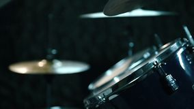 Drummer Playing Drums. Male Drummer Playing Drums In Dark Room. Close Up stock footage