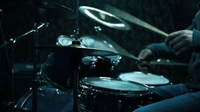 Drummer Playing On Drums. Old Drummer Playing On Drums On Rock Concert stock video footage