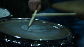 Drummer Playing On Drums. Slow Motion Effect. Close Up stock video