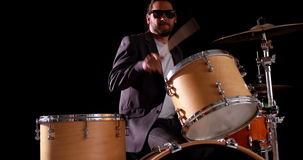 Drummer playing his drum kit Royalty Free Stock Photo