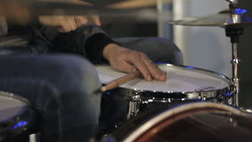 Drummer playing the rhythm on the drums stock video footage