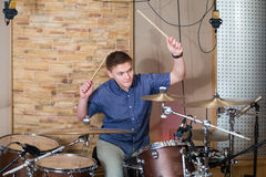 The drummer plays the drum kit Stock Photography