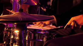 Drummer plays on drum set and cymbal stock video footage