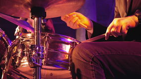 Drummer plays on drum set and cymbal stock video