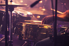 Drummer plays on drum set, vintage Stock Images
