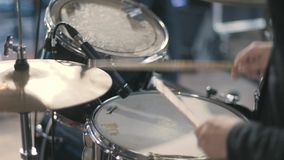 Drummer Plays Drums Kit. Drummer Hand Silhouette With Drumstick. Rock Band Performing on Stage stock video footage
