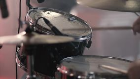 Drummer Plays Drums Kit. Drummer Hand Silhouette With Drumstick. Rock Band Performing on Stage stock video