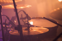 Drummer plays on rock drum set, rock music Royalty Free Stock Photography