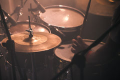 Drummer plays on rock drum set Stock Images