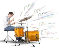 Drummer producing notes royalty free stock photo