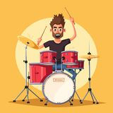 Drummer. Rock music. Cartoon vector illustration. Drummer. Old school party. Cartoon vector illustration. Vintage style. For print and web. Drums. For concert Stock Photos