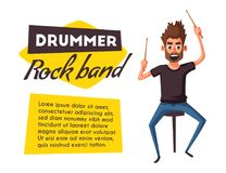 Drummer. Rock music. Cartoon vector illustration. Royalty Free Stock Photos