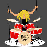 Drummer. Rock and roll musician playing drums, vector cartoon, no transparencies Stock Images
