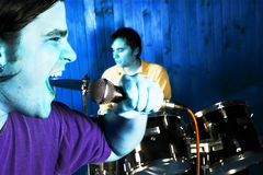 Drummer and rock singer Stock Photos