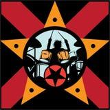 Drummer rock star. On concert vector illustration