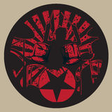 Drummer Rock Star In The Grunge Circle. Illustration royalty free illustration