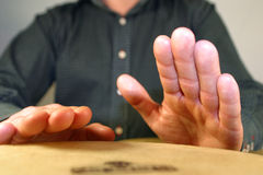 Drummer's hands. Close-up of drummer playing percussion royalty free stock images