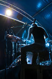 Drummer silhouette. Drummer's silhouette on a stage Stock Image