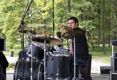 Drummer sound check Stock Photo