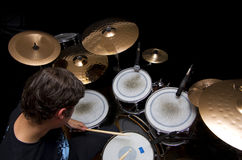 Drummer playing drums royalty free stock photo