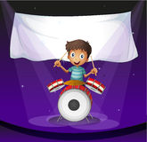 A drummer at the stage with an empty banner at the back. Illustration of a drummer at the stage with an empty banner at the back Stock Photography