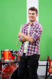 Drummer Standing Arms Crossed In Recording Studio Stock Photography
