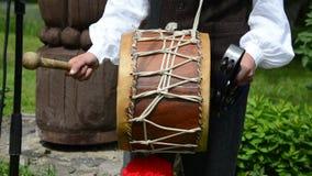 Drummer stick drum play stock video