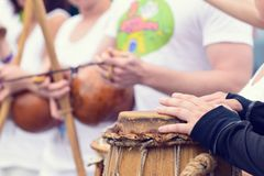 Drummer with traditional Brazilian Drum and drum sticks, selective focus stock photos