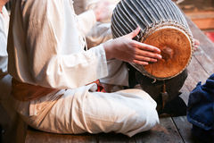 Drummer in a traditional musical band Stock Photos