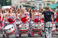 Drummer troupe. Bristol, UK. 5th July 2014. Drummer troupe at St. Paul's carnival stock image