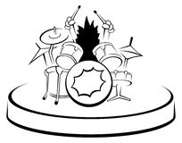 Drummer Uncolored. A black and white illustration of a drummer Royalty Free Stock Images