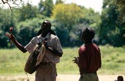 A drummer in a village in Uganda Stock Photo