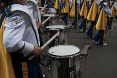 A Drummer in a the West Virginia Marching Band stock image