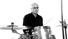 Drummer on white Royalty Free Stock Photos
