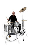 Drummer on white. Shot of drummer playing over white backdrop stock images