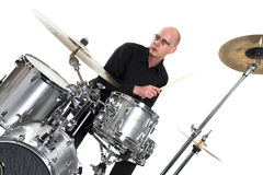 Drummer on white Royalty Free Stock Photo