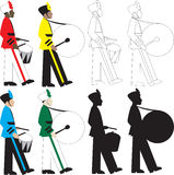 Drummers. 8 different types of drummers  Illustration Royalty Free Stock Photo