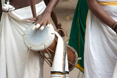 Drummers. Percussion players getting to play traditional instruments at a south Indian temple festival Stock Image