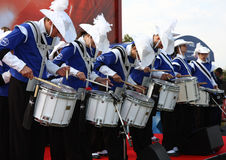 Drummers. At the opening of UEFA Champions League Trophy Tour held in oktober 2011,in Belgrade, Serbia, below Kalemegdan fortress,in the presence of Luis Figo Stock Image