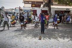 Drummers and band leader at Santa Maria Royalty Free Stock Photo
