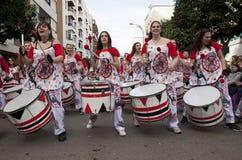 Drummers from Batala Band Badajoz Carnival 2016 Royalty Free Stock Photos