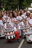 Drummers from Batala Banda de Percussao Royalty Free Stock Photography